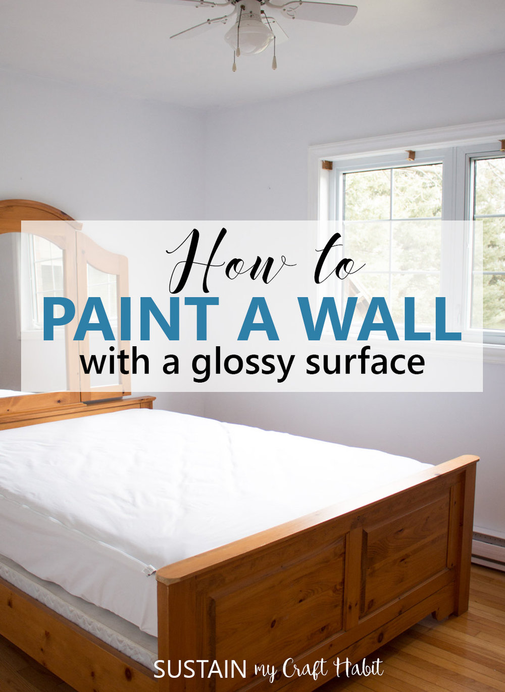 Learn how to paint a wall with a glossy surface. Great tutorial if you are using latex paint on a wall with an unknown surface finish as well as wood window and door trim.