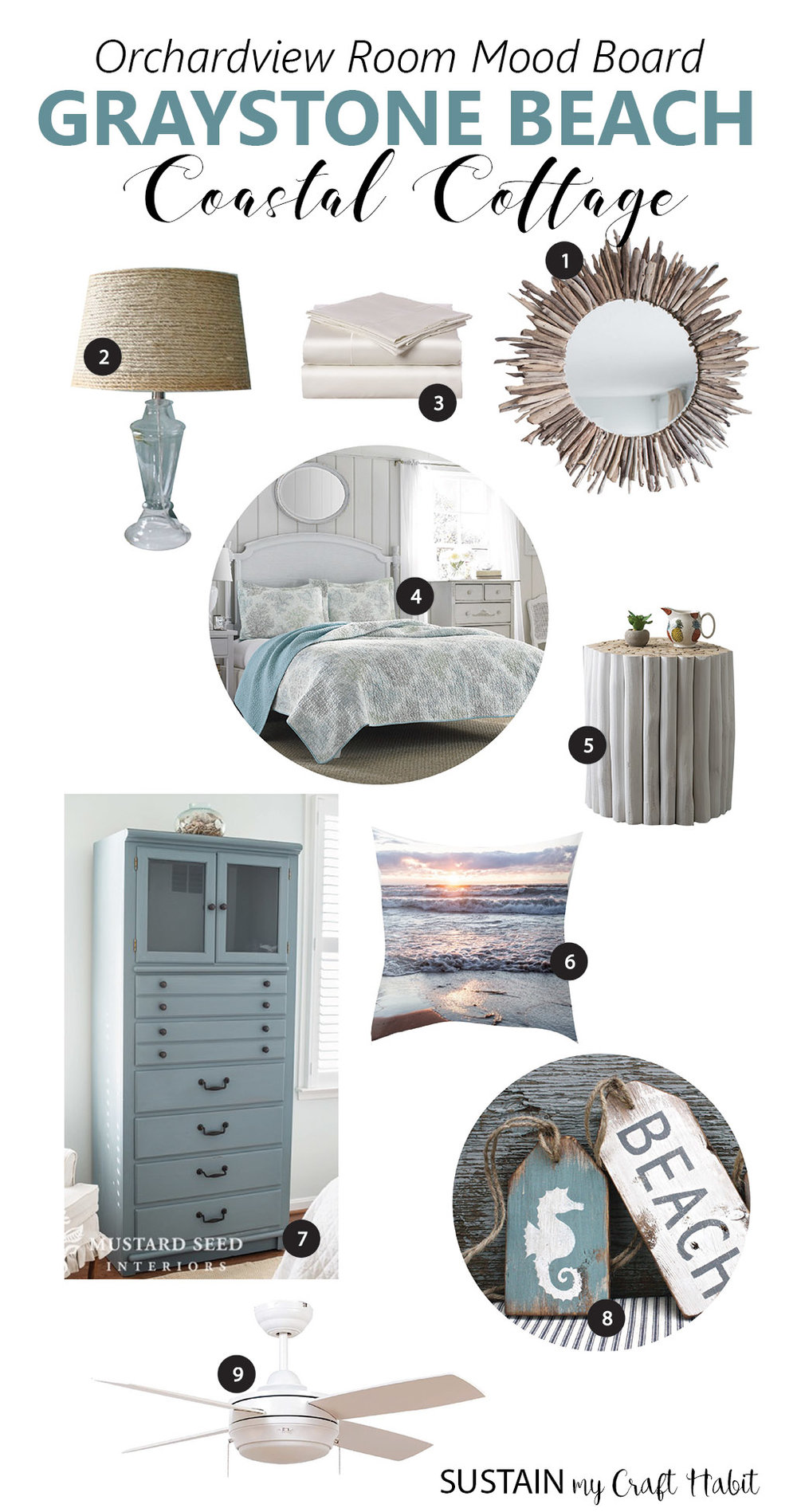 Love this soothing beach inspired mood board for a coastal cottage makeover on a budget | Coastal beach decor | Coastal home decor ideas | DIY rustic coastal and nautical plans for small bedroom