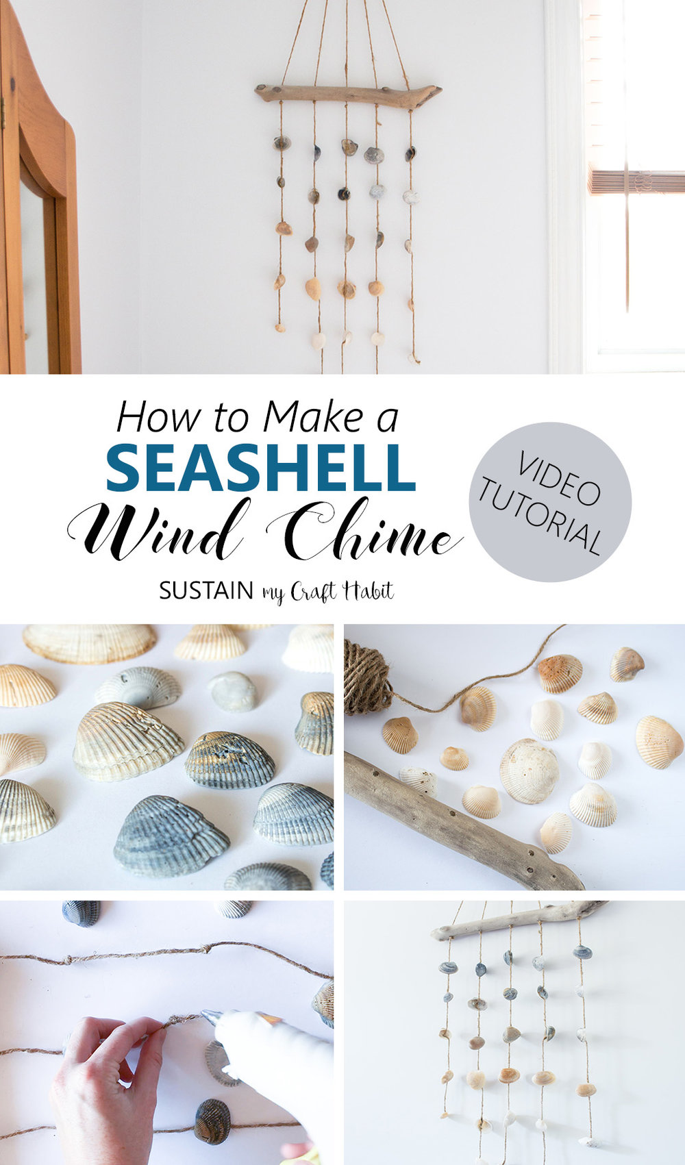 This seashell wind chime is so easy to make and can be used indoors as acoastal cottage décor idea for your bedroom wall. A quick video tutorial for this easy nautical DIY decorating idea is included!