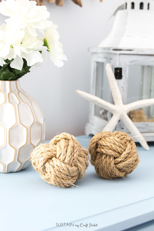 DIY coastal decor idea! How to make decorative nautical rope balls. Beach-themed wedding, shower or nursery decor idea. Video tutorial included.