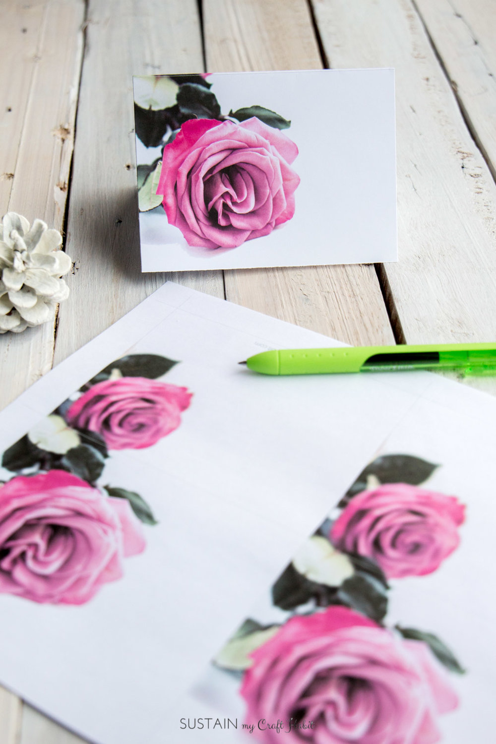 Pink rose free printable greeting card. Perfect for birthdays, Valentines, weddings or any special ocassion.