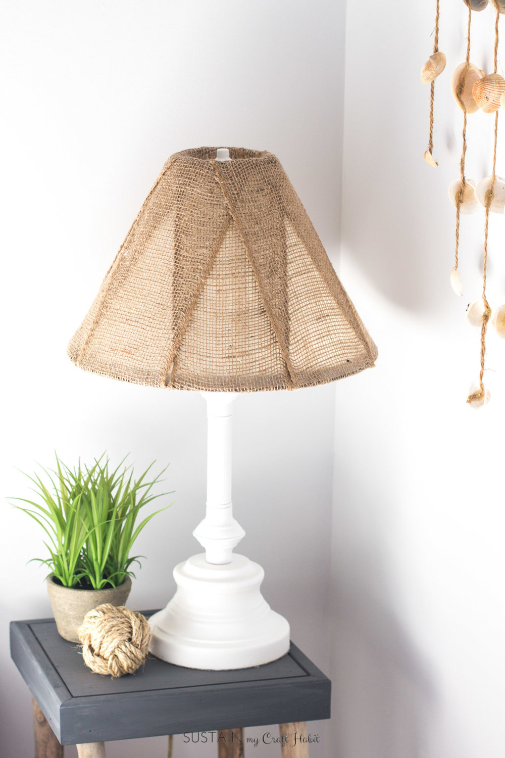 Upcycled Table Lamp with Burlap Shade
