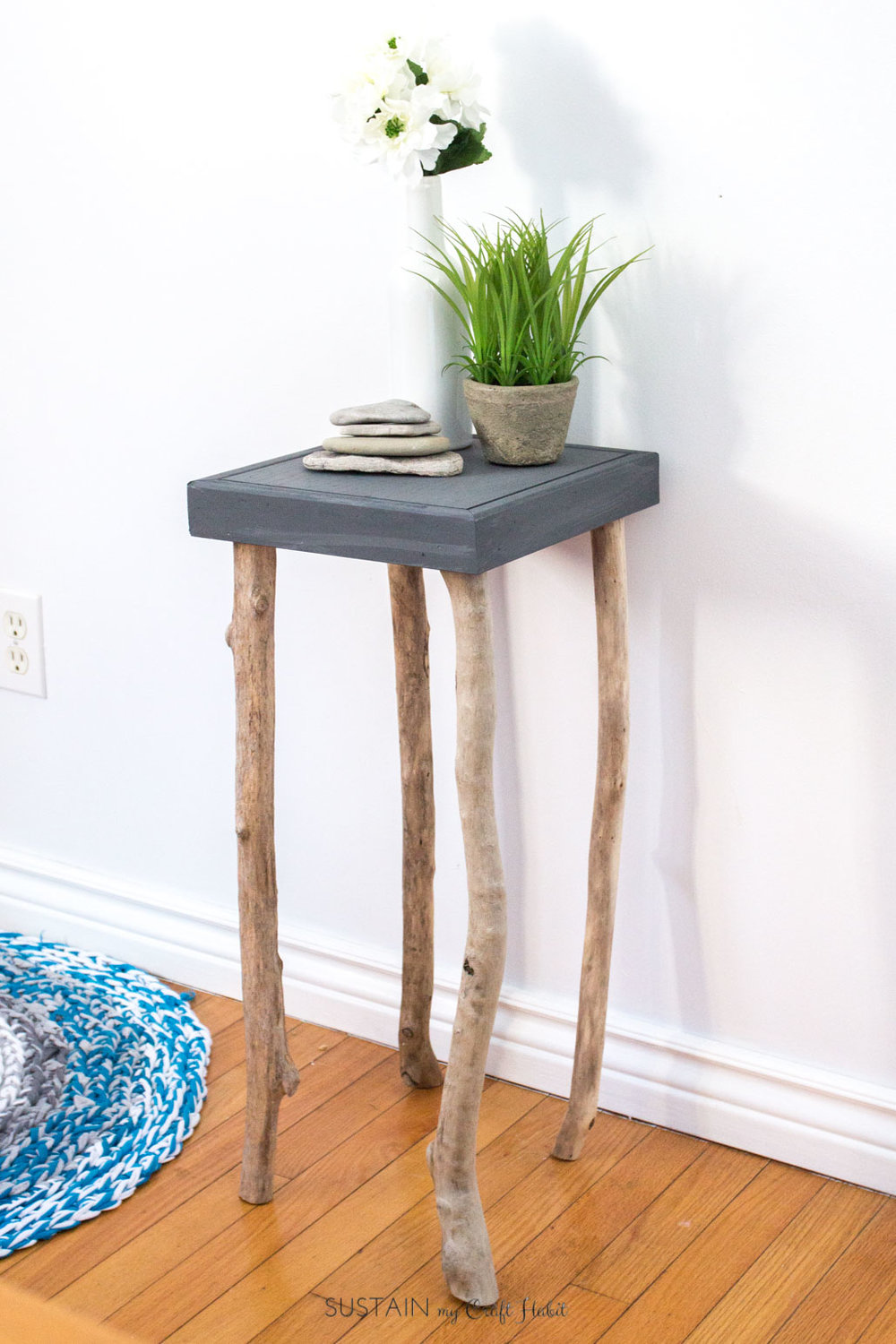Funny story and tutorial on how to make a side table with driftwood legs. Fun and rustic coastal decor for the home or cottage.