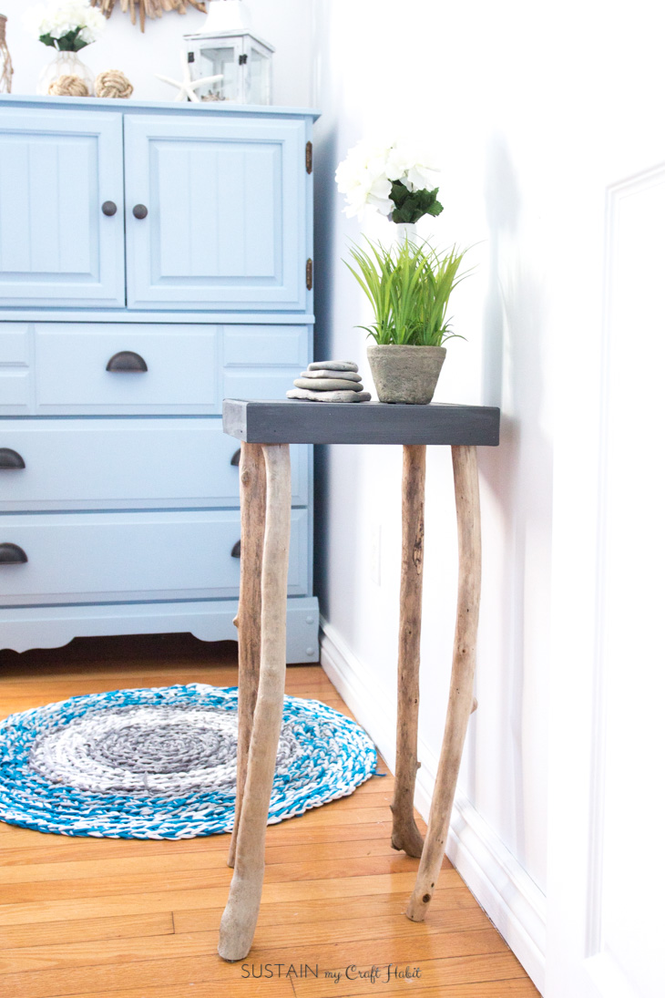 Rustic table with driftwood legs
