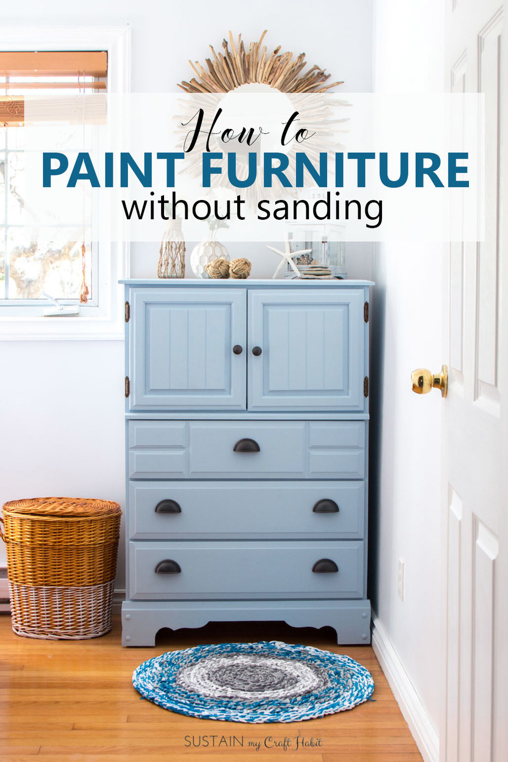 Am going to paint all my furniture now! This tutorial on how to paint furniture without sanding makes furniture upcycling look so easy. The DIY chalk-style paint tall dresser makeover would be perfect for a coastal style cottage, boy's room or nursery.