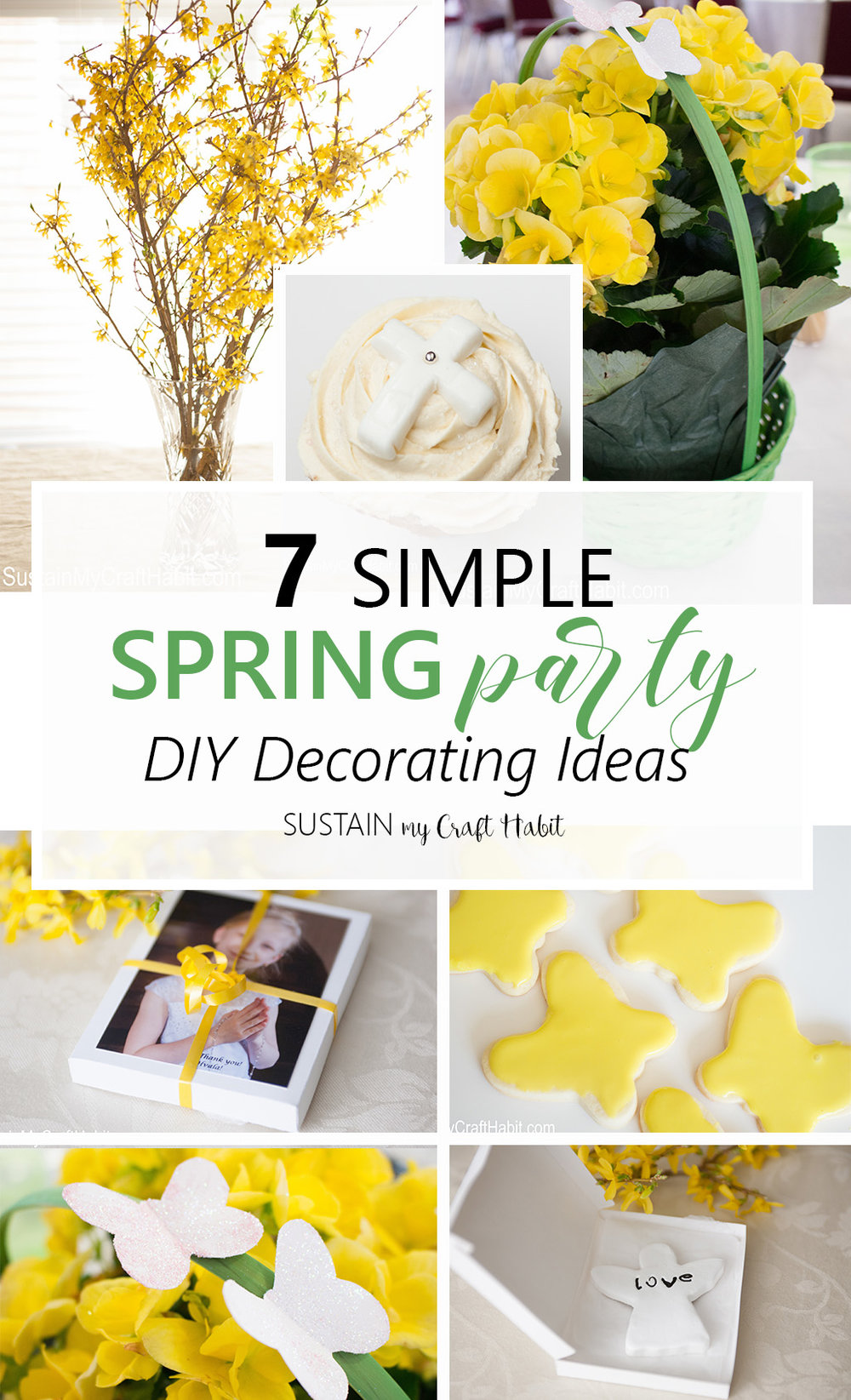 Simple Budget-Friendly DIY Spring Party Decorating Ideas. Inexpensive crafts for Easter, wedding, baby shower, First Communion or Christening.