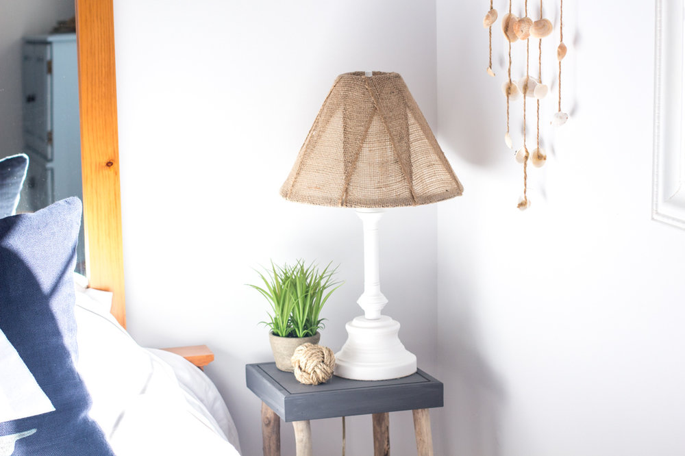 Upcycled brass table lamp