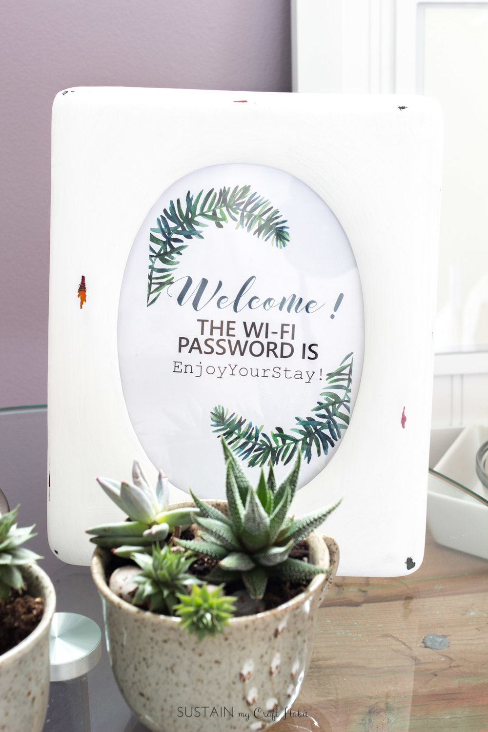 Free printable WIFI password sign and 12 other guest bedroom decor ideas on a budget.