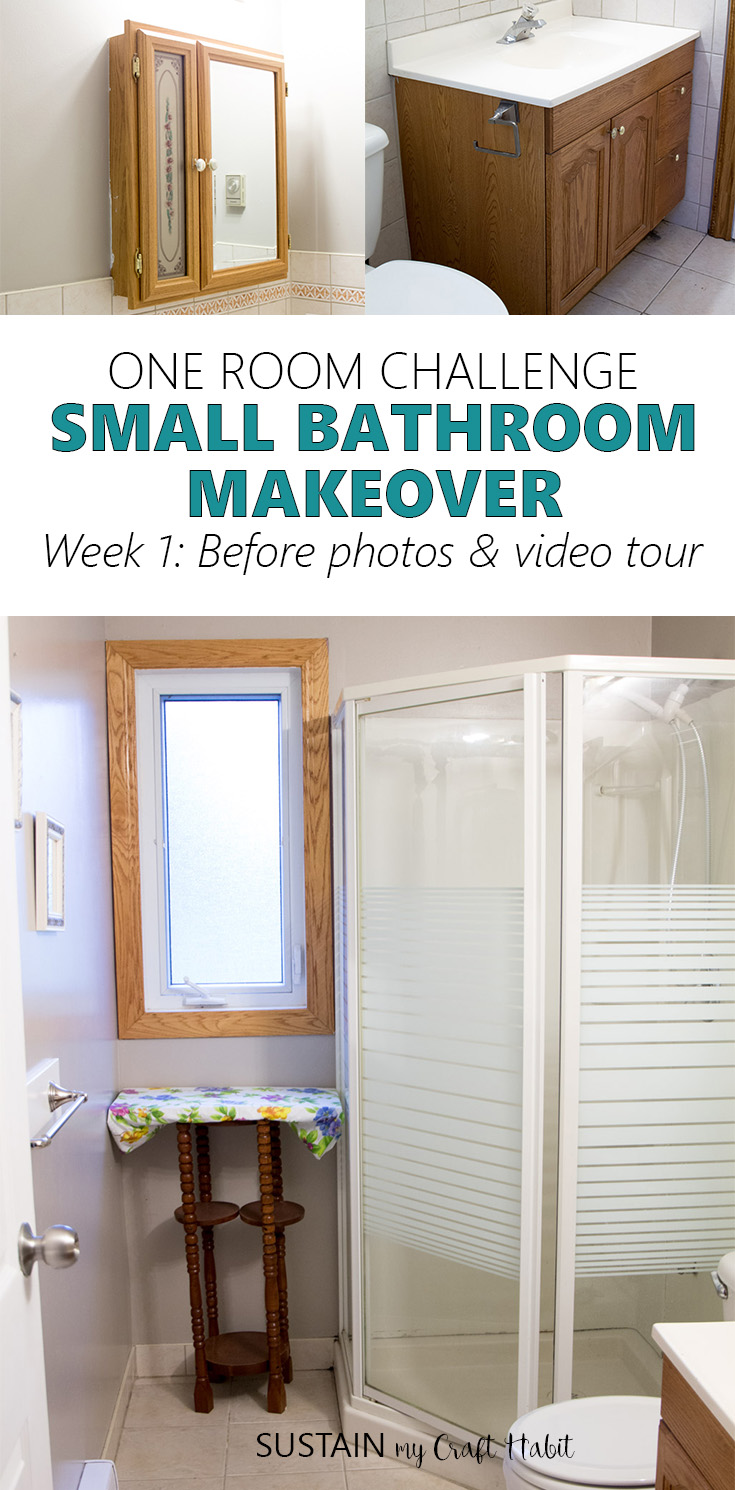 Small bathroom makeover as a part of the One Room Challenge. This room will be getting a complete coastal cottage makeover. Click over to follow the DIY process from start to finish.