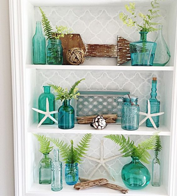 Gorgeous teal coastal vignette by @homeonfernhill on Instagram