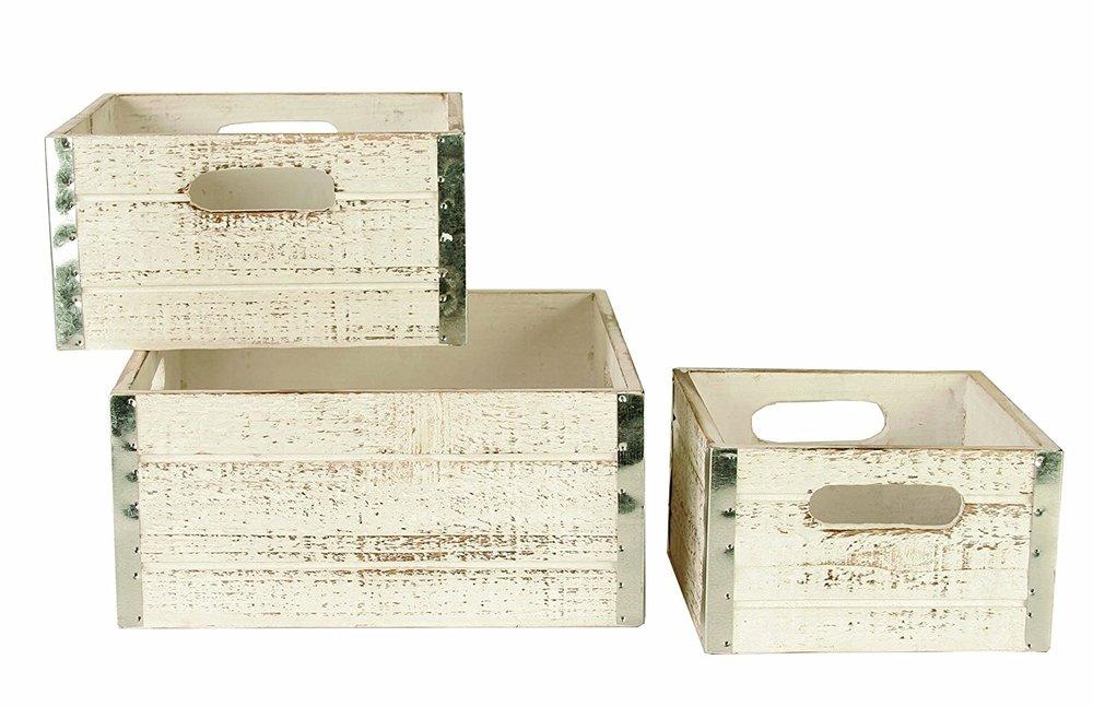 Whitewashed decorative storage crates |
