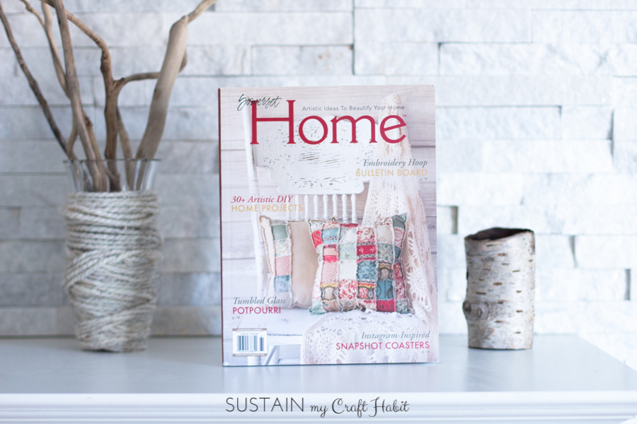 Our birch bark votive holder decor project has been included in the Spring 2016 issue of Somerset Home Magazine and we are giving away a free copy to one of our readers - Sustain My Craft Habit