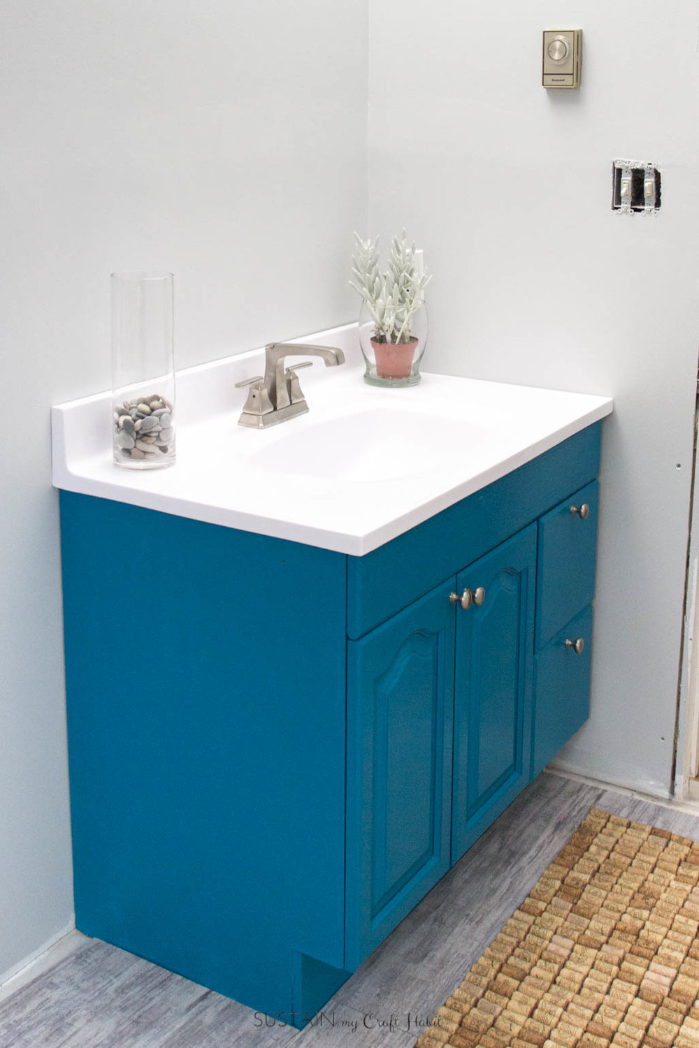 How to paint a wood bathroom vanity with DecoArt Satin Enamels in True Teal. #ad