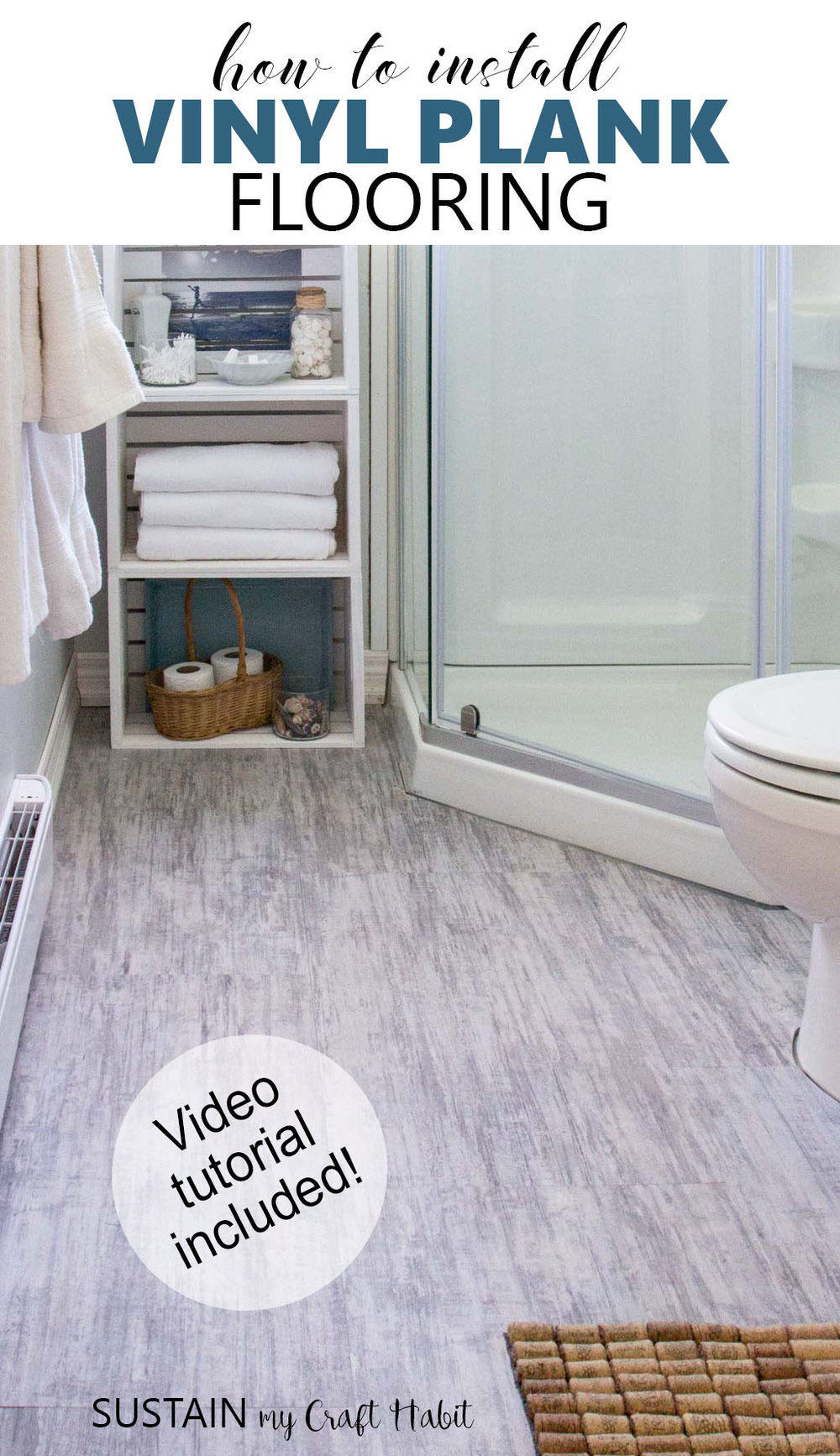Learn how to install vinyl plank flooring with step-by-step video tutorial. Great option for a bathroom, basement or kitchen and can go over existing tile! #allureprojectsucces [sponsored]