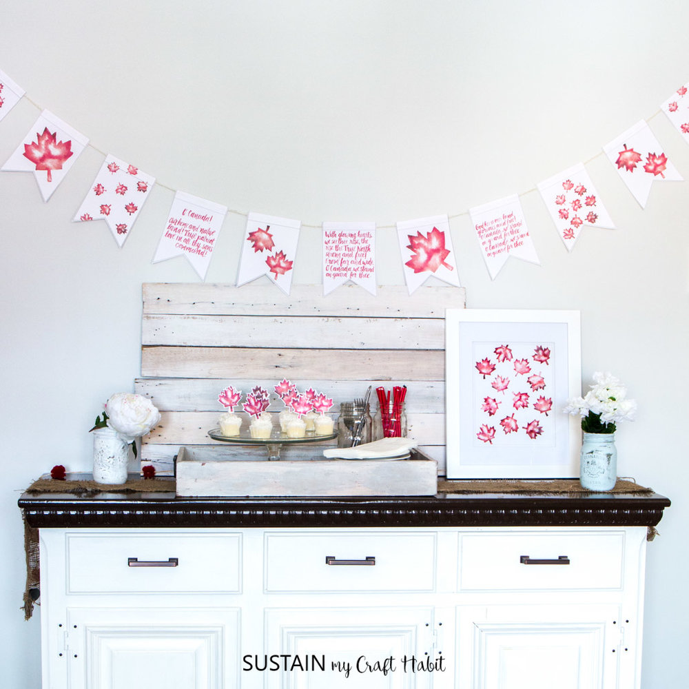 Decorating ideas to celebrate Canada Day including free printable O Canada garland and maple leaf watercolour art!