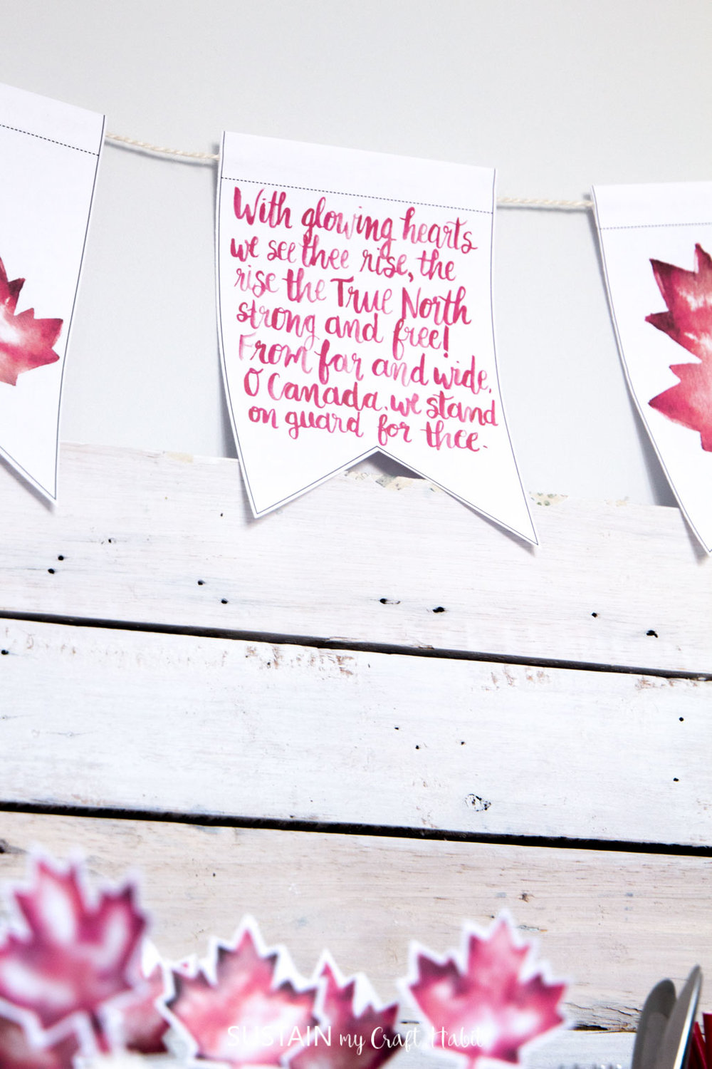 Free hand-lettered printable Canada Day garland and watercolour Canada leaf art/cupcake toppers