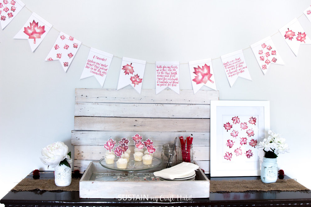 Free Canada Day decorating ideas! Grab this gorgeous and festive printable banner and watercolour art. Simple Canada Day decor to wow your BBQ guests!