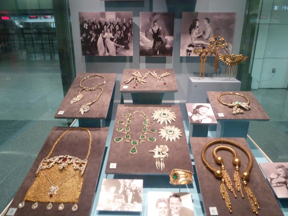 Exhibit in SFO's International Terminal pre-seurity highlights the costume jewelry by Joseff of Hollywood worn in famous films.
