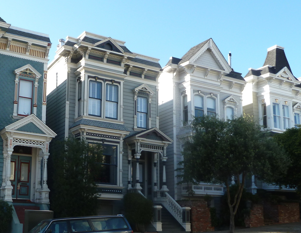 Stick row houses on Laguna in the Western Addition.