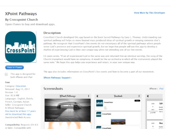XPoint Pathways - The official app of CrossPoint Church is called