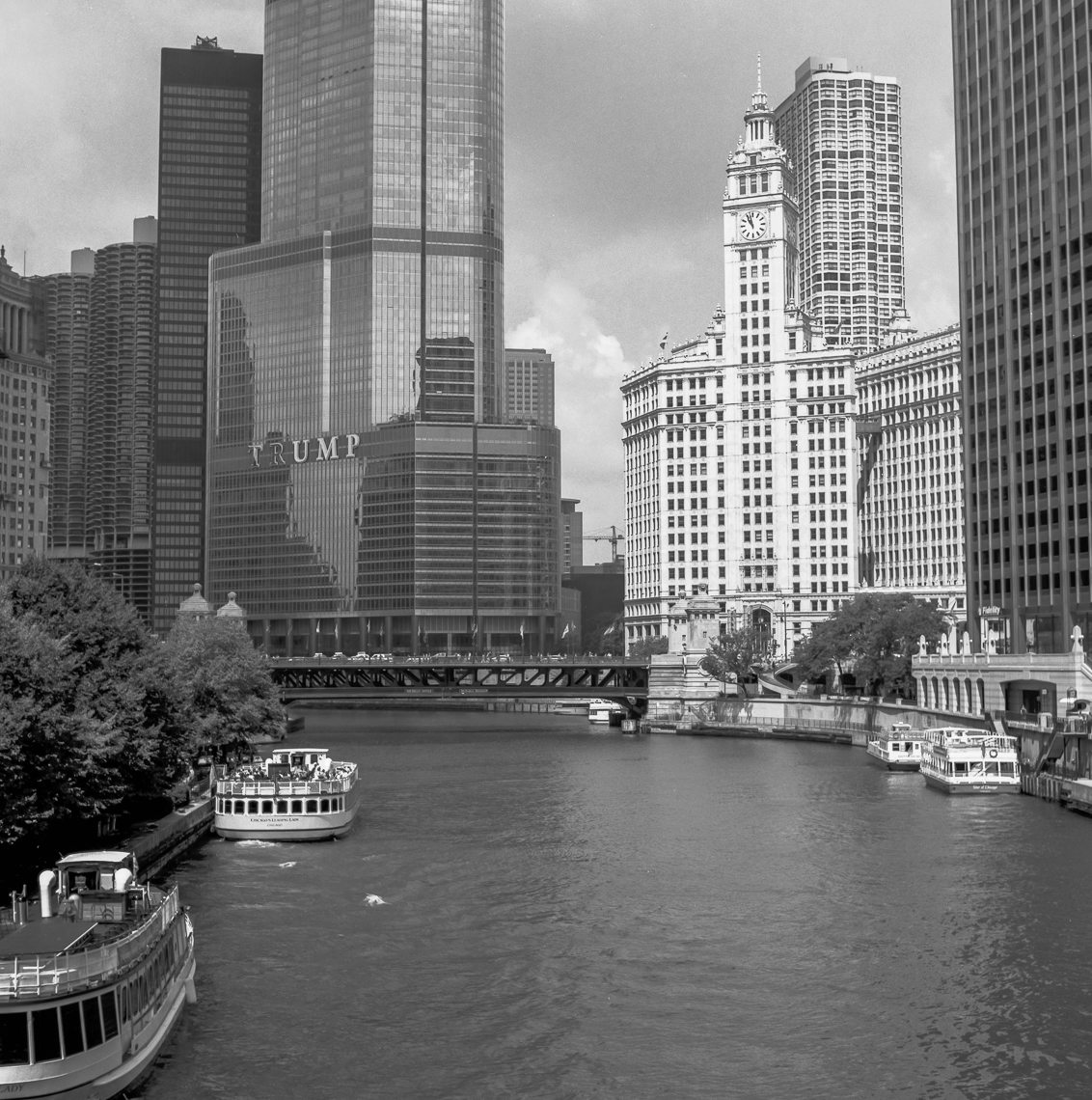 The Wrigley Building and Trump Tower viewed from the Columbus Street bridge.