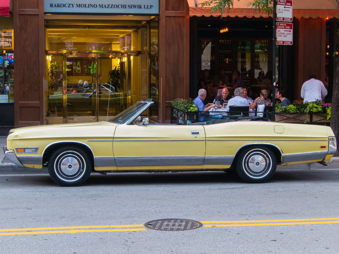 This bright yellow Ford LTD was seen on the streets of Chicago