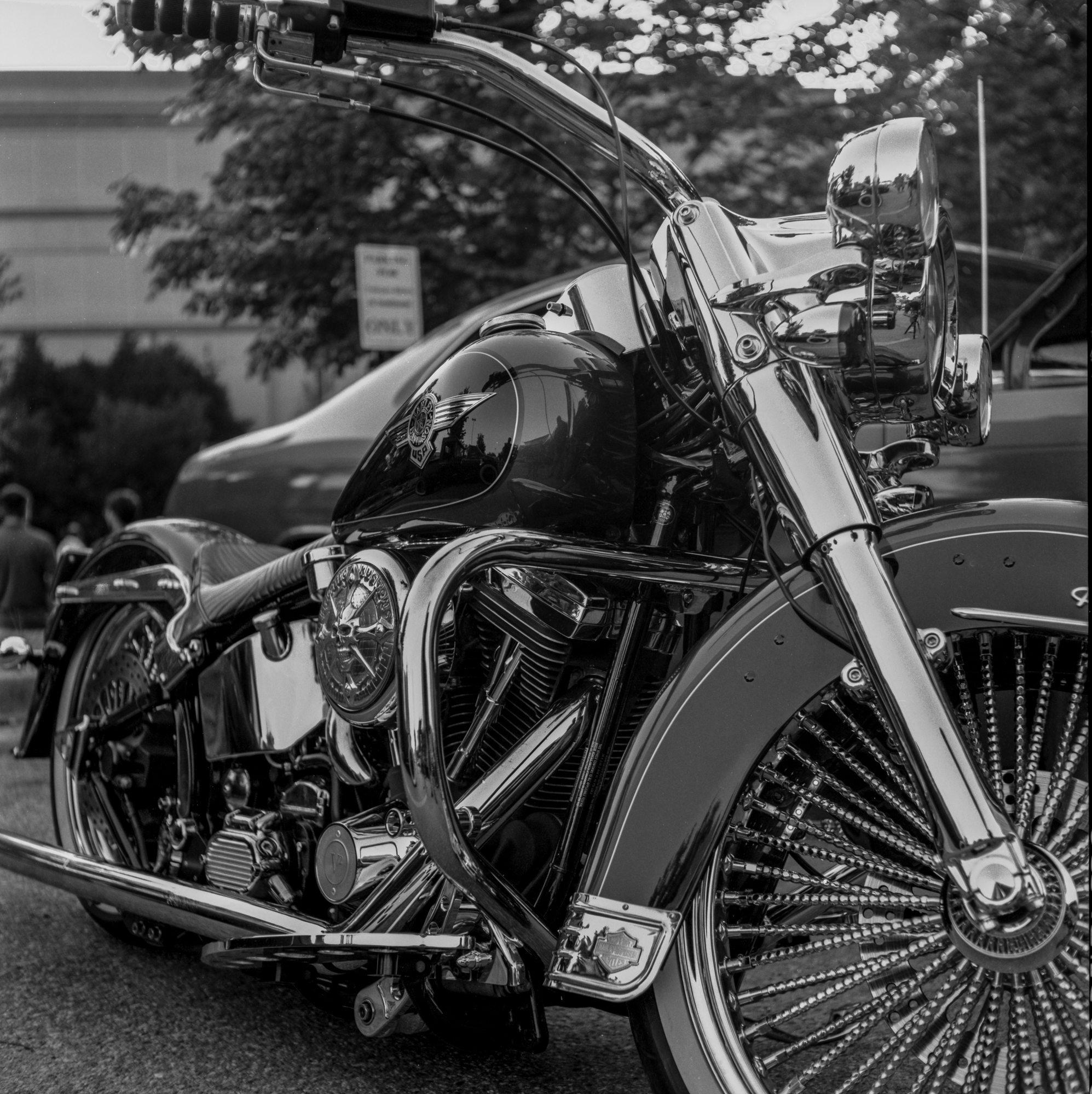 A Nice Chrome Laden Custom Motorcycle