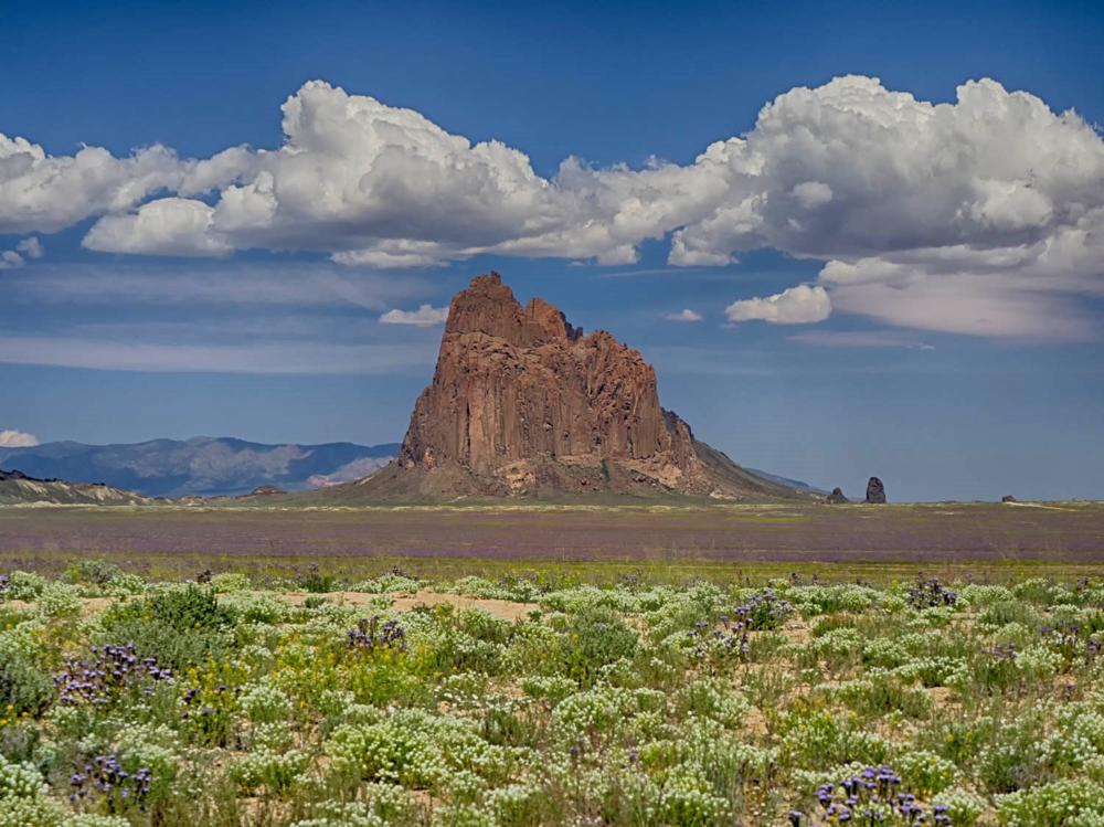 Sacred Rock - Ship Rock Rises Above The Desert Floor