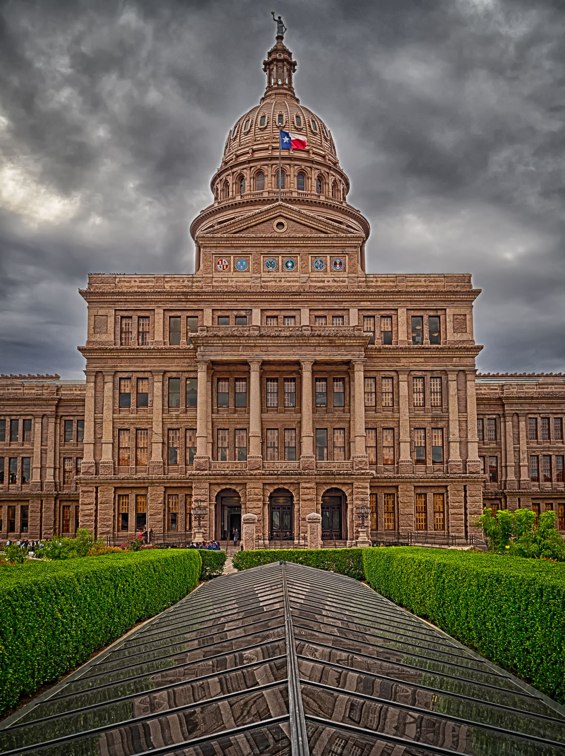 A slightly over the top HDR image of the North end of the Texas State Capitol