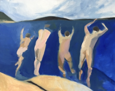 4 Swimmers (2), 2015. 22x28 inches, oil on canvas. (sold)