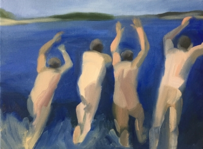 4 Swimmers (10), 2015. 12x16 inches, oil on canvas. (sold)