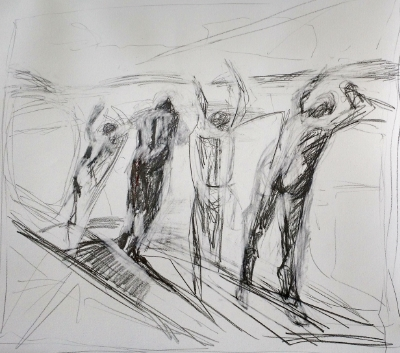 4 Swimmers Drawing, 2015. 24x24 inches, pencil on heavyweight paper.