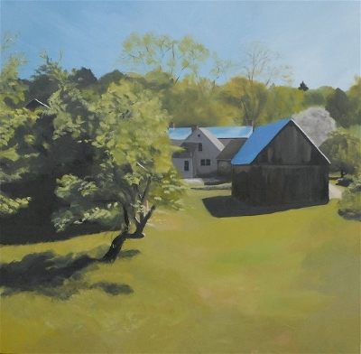 Spring barns. 36 x 36 inches, oil on canvas.