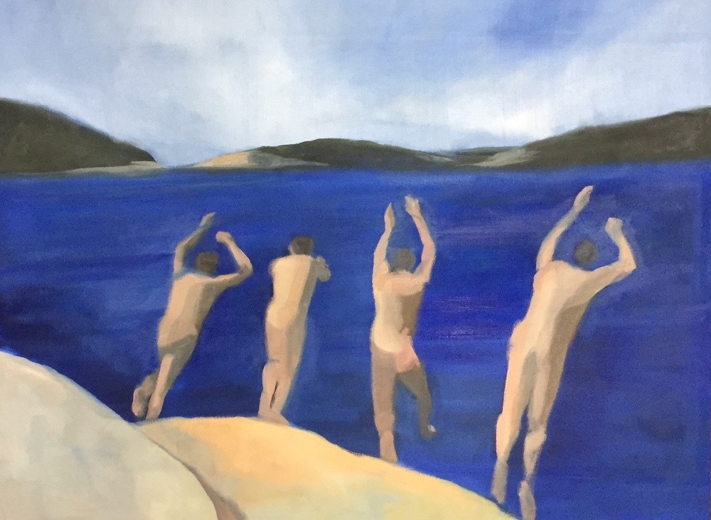 4 Swimmers (8), 2015. 36x48 inches, oil on canvas