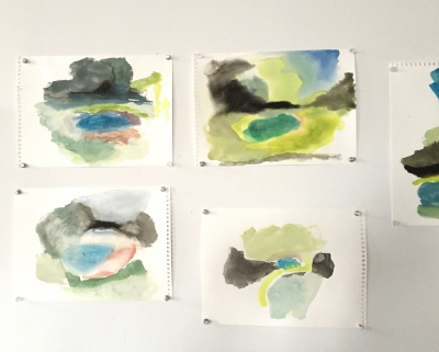 Watercolors on the studio wall once I got back home.