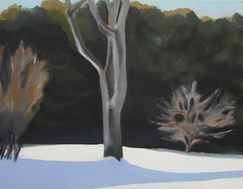 Tree in the Back. 11 x 14 inches, oil on canvas. ---