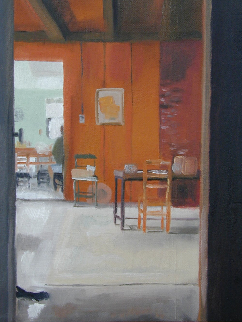 Dining room into the kitchen. 8 x 10 inches, oil on canvas. ---