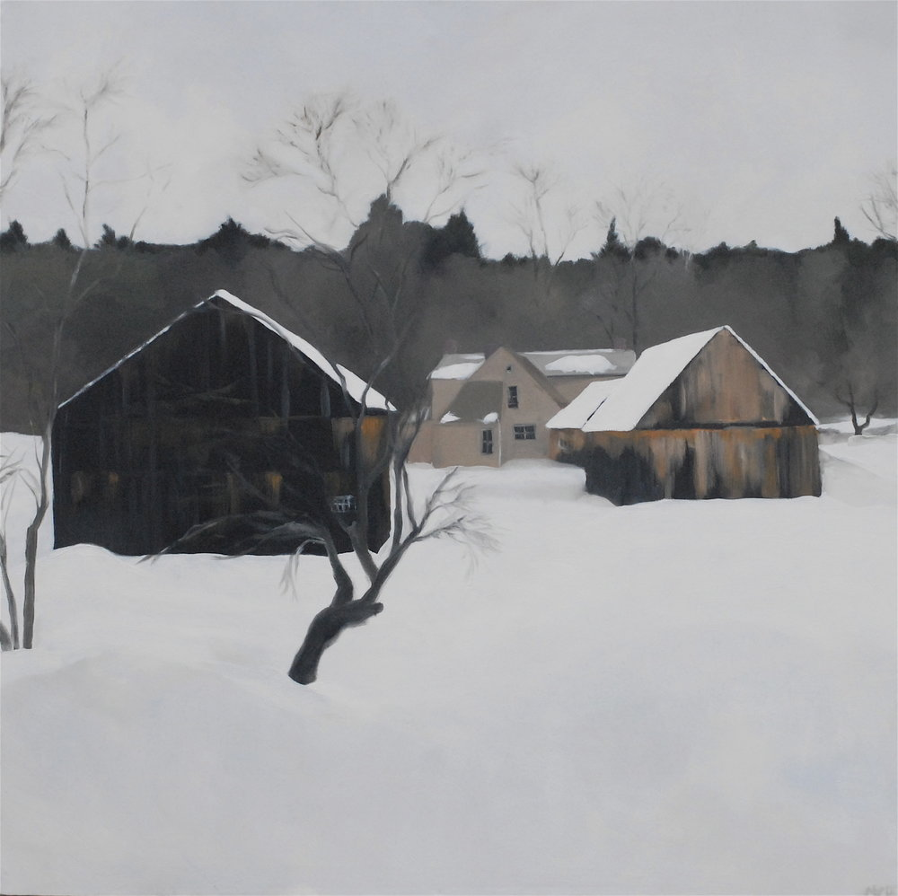 Winter barns. 36 x 36 inches, oil on canvas. ---