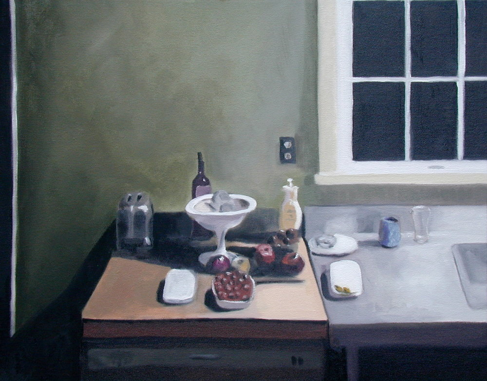 Night kitchen. 16 x 20 inches, oil on canvas.  ---