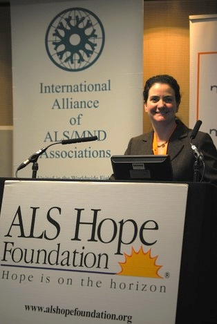 Sara Feldman, Clinical Liaison for the ALS Hope Foundation and Physical Therapist at the MDA/ALS Center of Hope, presents during the 2014 ALS/MND Meetings in Brussels