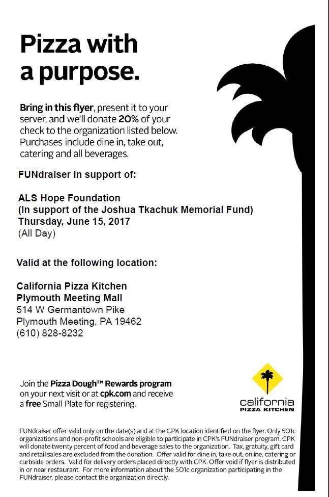 Amazing California Pizza Kitchen Fundraiser Als Hope Foundation Download Free Architecture Designs Rallybritishbridgeorg