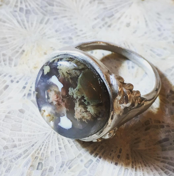 PLUME AGATE DOME RING