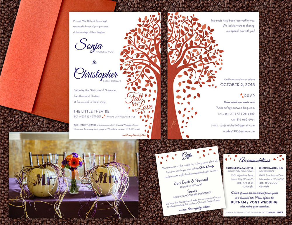 Sonja & Chris love the fall. These two are heavily involved with music and color guard programs in Missouri so it was only fitting to have their wedding during the busiest time for those two disciplines! Purple and orange were the couple's colors and it complimented their coffee and cocoa party favors and tabletop decor.