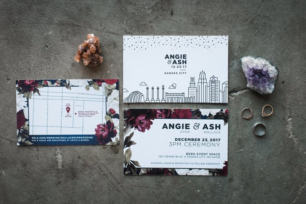 Angie & Ash are all about style.  Stylish and lovable, it was a pleasure designing this wedding suite for this wonderful couple. A mix of urban and classic floral are almost as perfect of a match as Angie and Ash themselves.