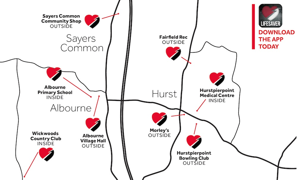 Where is the nearest defibrillator in Hurstpierpoint, Sayers Common and Albourne?