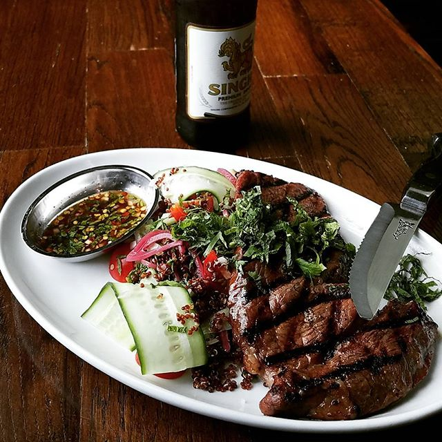 Tonight's special...Cry of the Tiger Tiger Cry marinated grilled ribeye, red quinoa salad and Survivor sauce (toasted chili, lime and fish sauce). #neverletyoursouschefnamethespecial #welovetherockymovies #clubberlang #southbysoutheast #ribeye #beef #quinoa