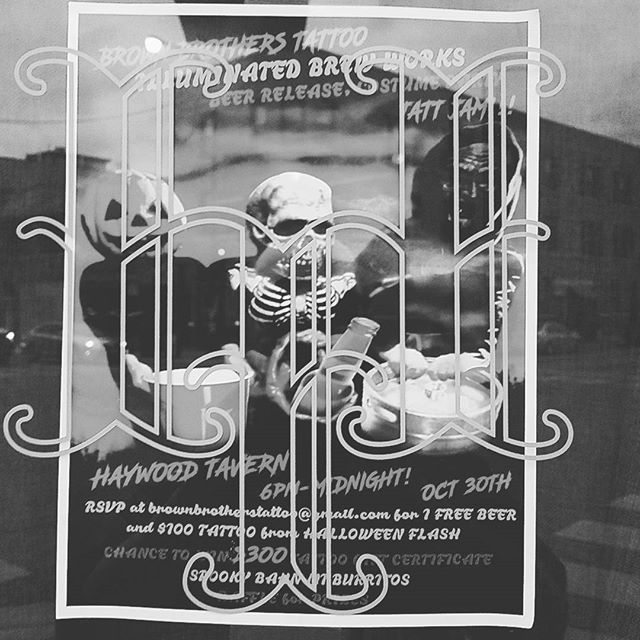Tonight! @illuminatedbrewworks and @brownbrotherstattoo beer release costume party. We are releasing Brown Sacrament, a collaboration between IBW and BBT as well as Bowling Alley Gang Fight, Haywood Tavern's new house beer. Bann Mi burritos are being served as well! #illuminatedbrewworks #brownbrothers #beer #costumes #halloween #tattoos