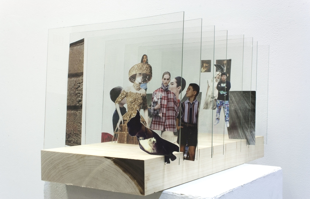 After Velazquez,  glass, found images, digital print, wood, 2014.