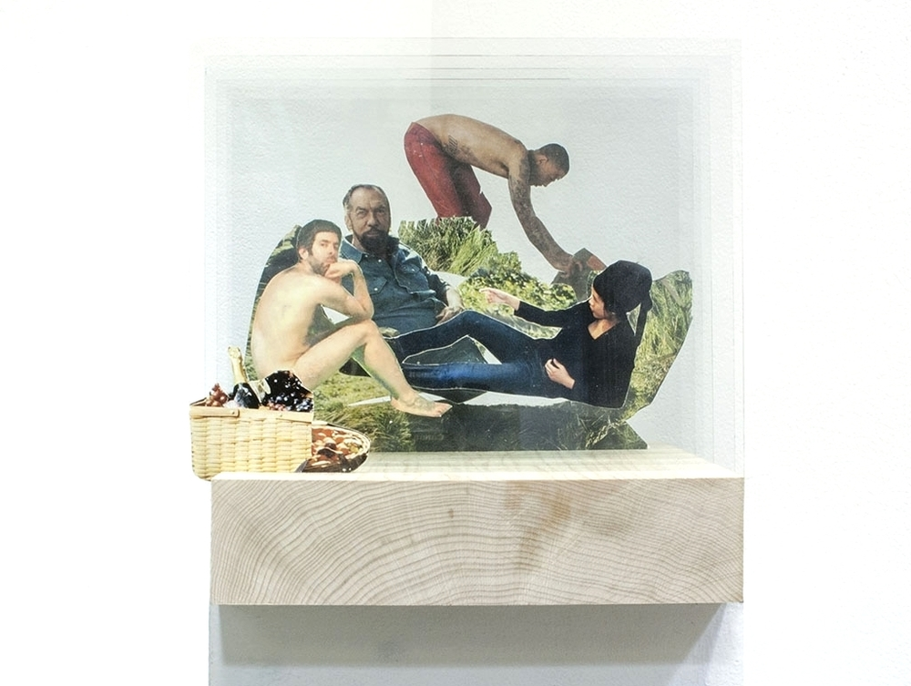After Manet,  glass, found images, digital print, wood, 2014.