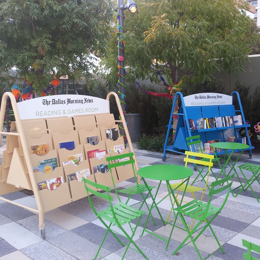 Rolling Library Racks for Klyde Warren Park. Click image for more information about what we create for PARKS.